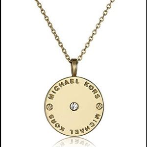 MICHAEL KORS DISC SIGNATURE GOLD NECKLACE
